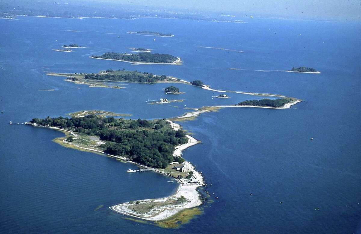 Copps Island is at the top right. Sheffield Island is in the foreground.