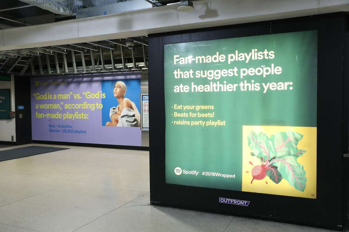 Spotify advertisements at Powell BART station in December 2018.