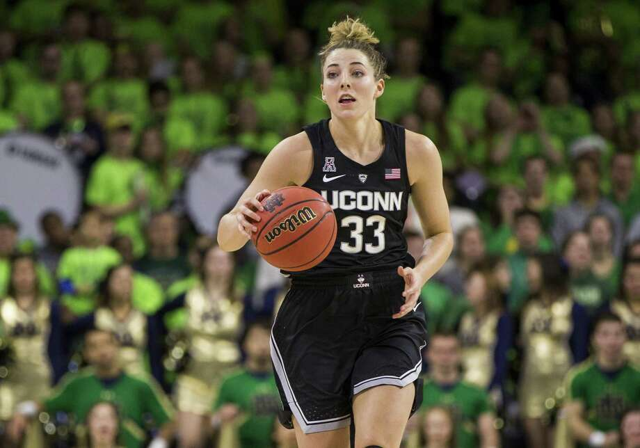 Katie Lou Samuelson and the UConn women's basketball team host Seton Hall on Saturday. Photo: Robert Franklin / Associated Press / FR17139 AP