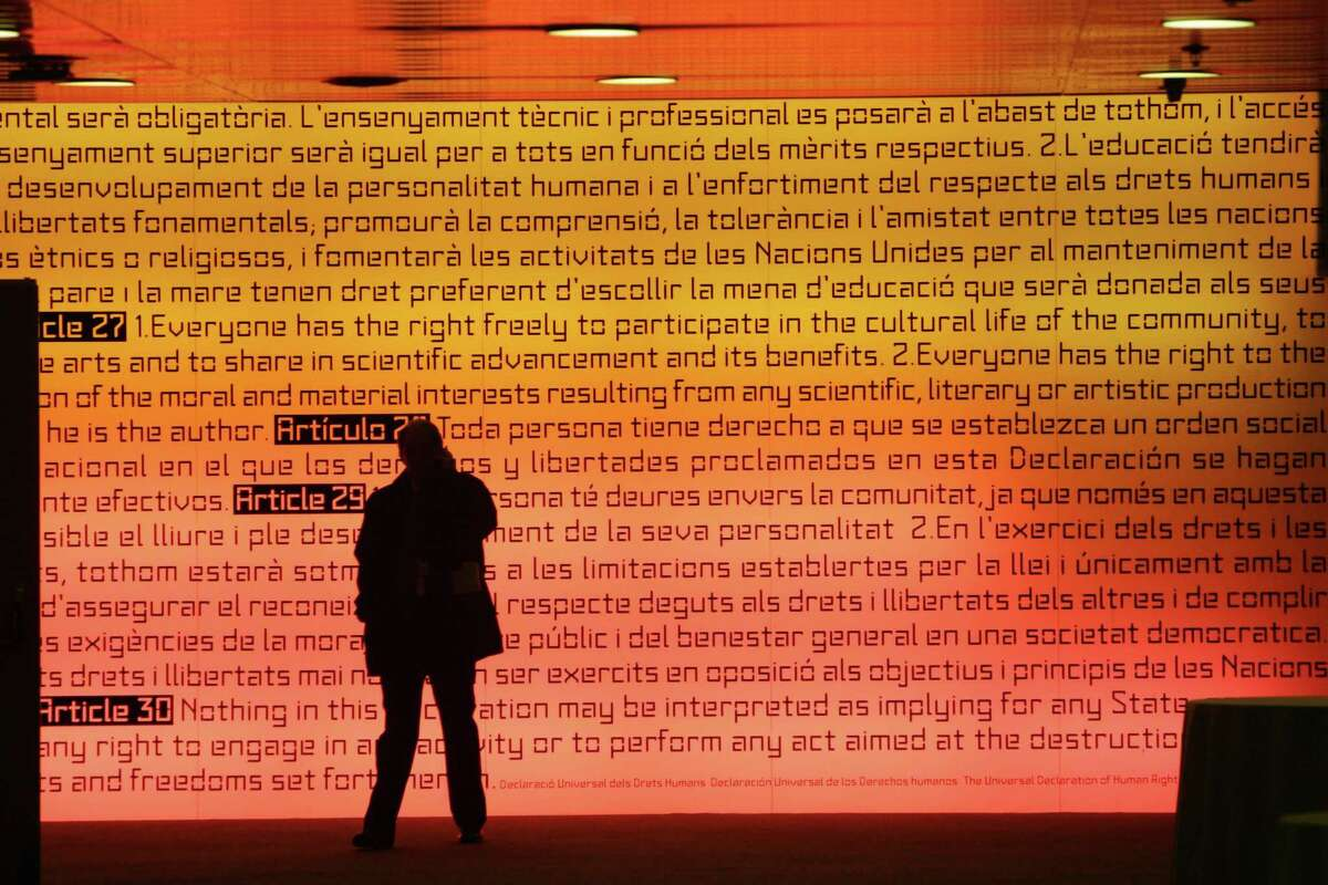 The Universal Declaration of Human Rights is illuminated Barcelona, Spain. Adopted in 1948, the declaration has become the cornerstone of human rights law.