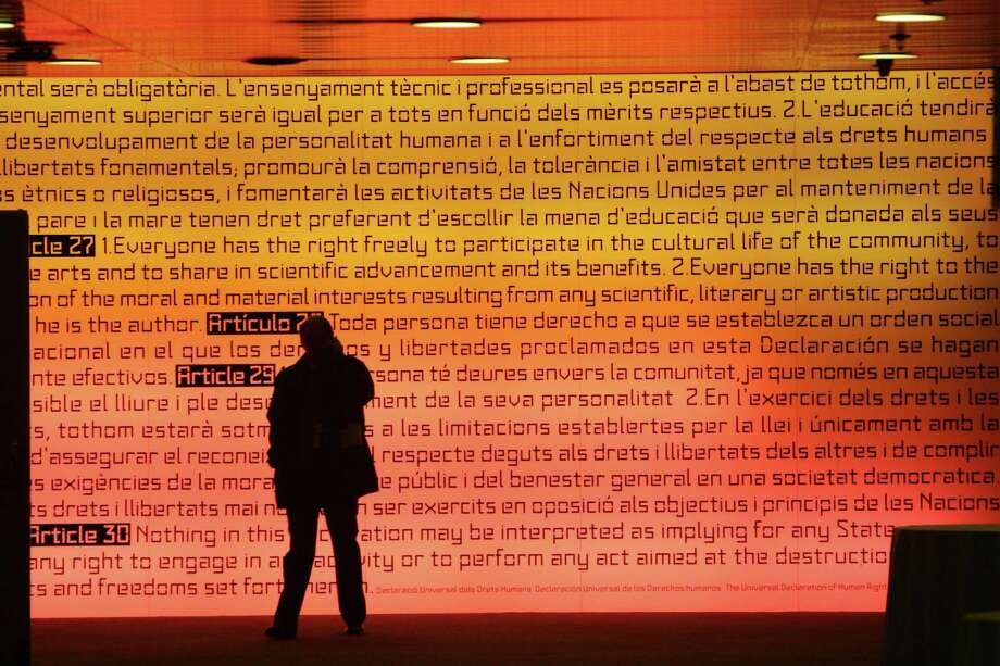 The Universal Declaration of Human Rights is illuminated Barcelona, Spain. Adopted in 1948, the declaration has become the cornerstone of human rights law. Photo: Getty Images File Photo / AFP