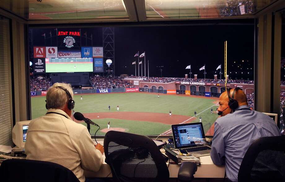 Announcers Ken Korach, left, and Vince Cotroneo broadcast live during Game 2 of the Bay Bridge series between the San Francisco Giants and the Oakland A's March 28, 2014 at AT&T Park in San Francisco. Photo: Leah Millis / San Francisco Chronicle