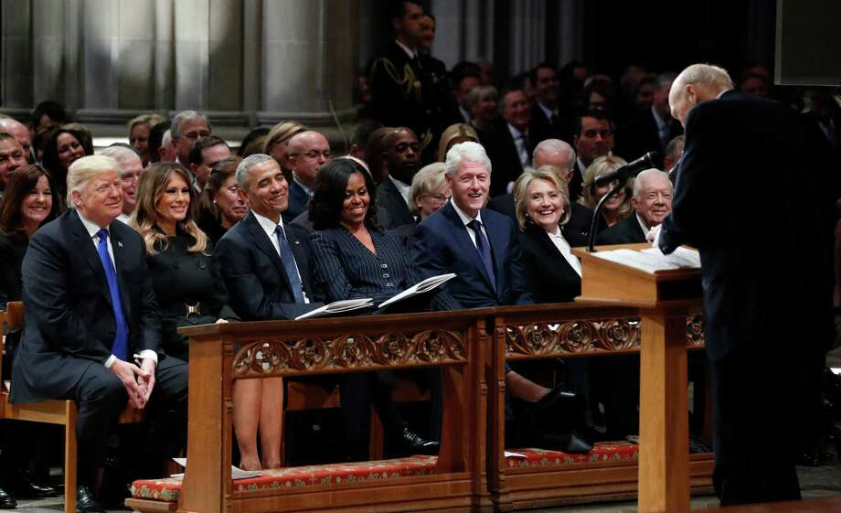 From left: President Donald Trump, first lady Melania Trump, former President Barack Obama, Michelle Obama, former President Bill Clinton, former Secretary of State Hillary Clinton, and former President Jimmy Carter listen as former Sen. Alan Simpson spoke at the funeral of former President George H.W. Bush, at the National Cathedral in Washington on Wednesday. Photo: ALEX BRANDON /NYT / AFP or licensors