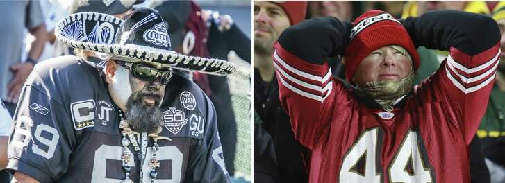 (Left) An Oakland Raider's fan patiently waiting for a Raider's comeback during the game between the Oakland Raiders and the Indianapolis Colts on Sunday, October 28, 2018 at the O.Co Stadium in Oakland, California. ; (right) A San Francisco 49ers fan reacts after a penalty during a game between the Green Bay Packers and the San Francisco 49ers at Lambeau Field on October 15, 2018 in Green Bay, WI.