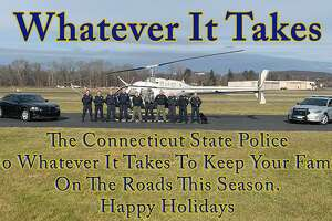 Connecticut State Police troopers took to the skies on Thursday, Dec. 6, 2018, to check on aggressive driving complaints on Interstate 84 in Danbury, Conn.