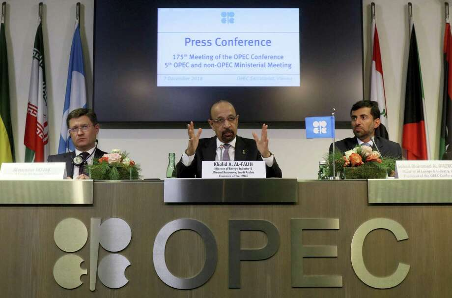 Russian Minister of Energy Alexander Novak, Khalid Al-Falih, Minister of Energy, Industry and Mineral Resources of Saudi Arabia and Minister of Energy of the United Arab Emirates, UAE, Suhail Mohamed Al Mazrouei, from left, attend a news conference after a meeting of the Organization of the Petroleum Exporting Countries, OPEC, and non OPEC members, at their headquarters in Vienna, Austria, Austria, Friday, Dec. 7, 2018. NEXT: Which countries are members of OPEC?  Photo: Ronald Zak, STR / Associated Press / Copyright 2018 The Associated Press. All rights reserved.