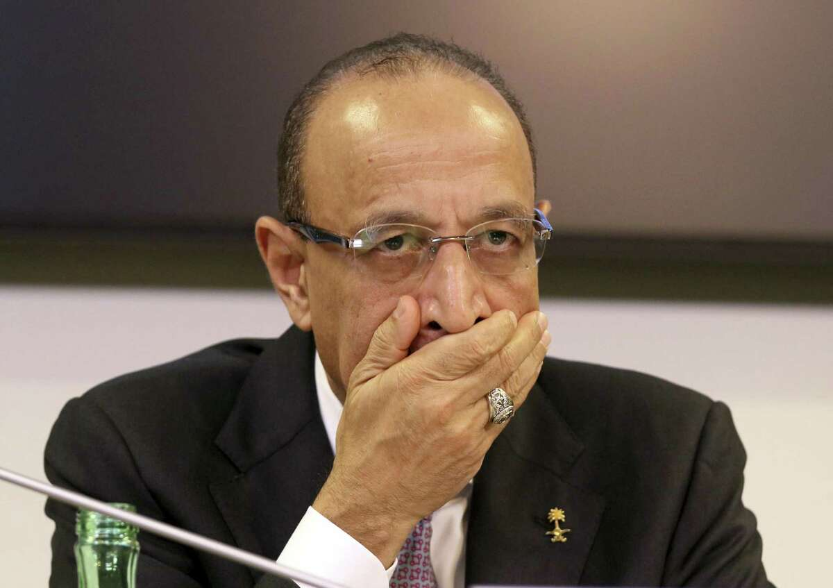 Khalid Al-Falih, Minister of Energy, Industry and Mineral Resources of Saudi Arabia attends a news conference after a meeting of the Organization of the Petroleum Exporting Countries, OPEC, and non OPEC members, at their headquarters in Vienna, Austria, Austria, Friday, Dec. 7, 2018. (AP Photo/Ronald Zak)