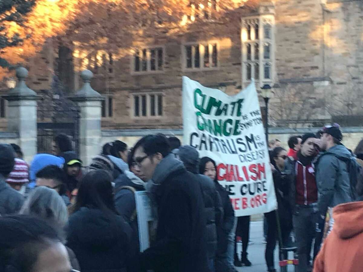 Yale University students and supporters took part in a rally and march Friday against some of the university's investment policies.