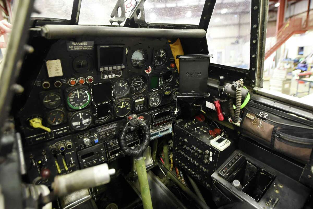 Cockpit view of the Tora 101, a Japanese Zero movie replica owned by Integra Optics CEO David Prescott, that is being restored in a hanger at Albany International Airport on Friday, Dec. 7, 2018, in Colonie, N.Y. The aircraft was once used by the Canadian military before being converted to appear in three Hollywood films, including