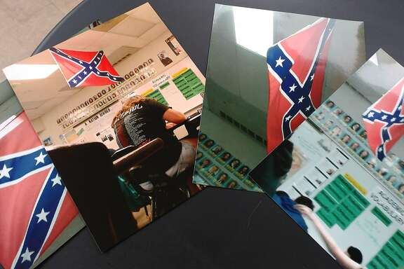 This montage depicts several images taken from inside a classroom at La Joya Middle School by a student on April 3, 2017 show a Confederate flag hanging from the ceiling. School officials say it was used for educational purposes but it was taken down after a mother raised concerns.