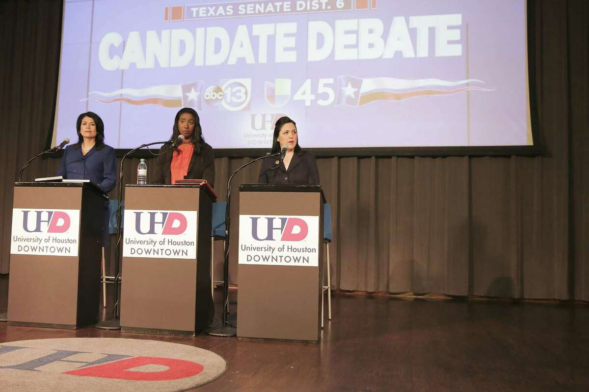 Debate between the democratic candidates, State Rep. Carol Alvarado, from left, Mia Mundy and State Rep. Ana Hernandez, for the special election for Texas Senate Dist. 6 at University of Houston Downtown on Tuesday, Dec. 4, 2018 in Houston.