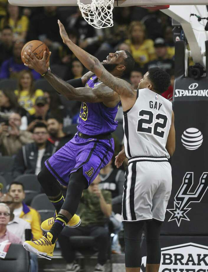 4c1a6456db22 Spurs  Rudy Gay (22) defends against Los Angeles Lakers  LeBron James (