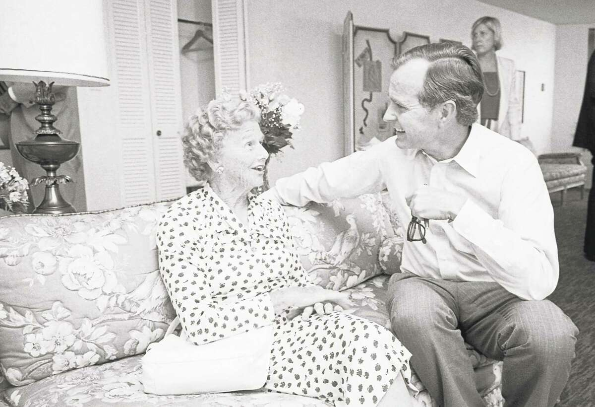 George H.W. Bush chats with his mother, Dorothy Walker Bush, in Detroit where she arrived July 17, 1980 after her son was tapped for the Republican vice presidential nomination.