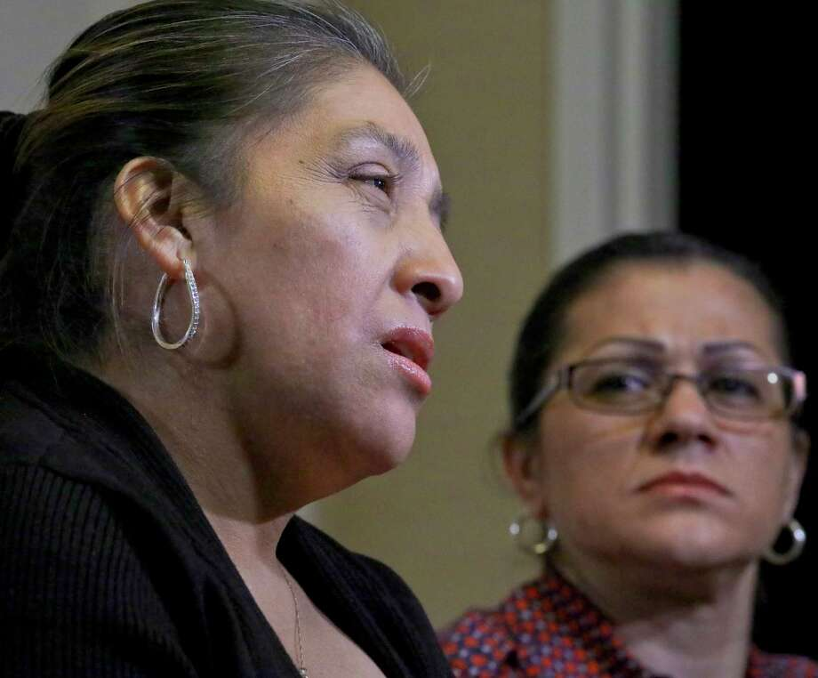 Sandra Diaz, right, listens as Victorina Morales, right, recalls her experience working at President Donald Trump's golf resort in Bedminster, N.J., during an interview, Friday Dec. 7, 2018, in New York. Both Morales and Diaz say they used false legal documents to get hired at the resort and supervisors knew it. Photo: Bebeto Matthews, AP / Copyright 2018 The Associated Press. All rights reserved.