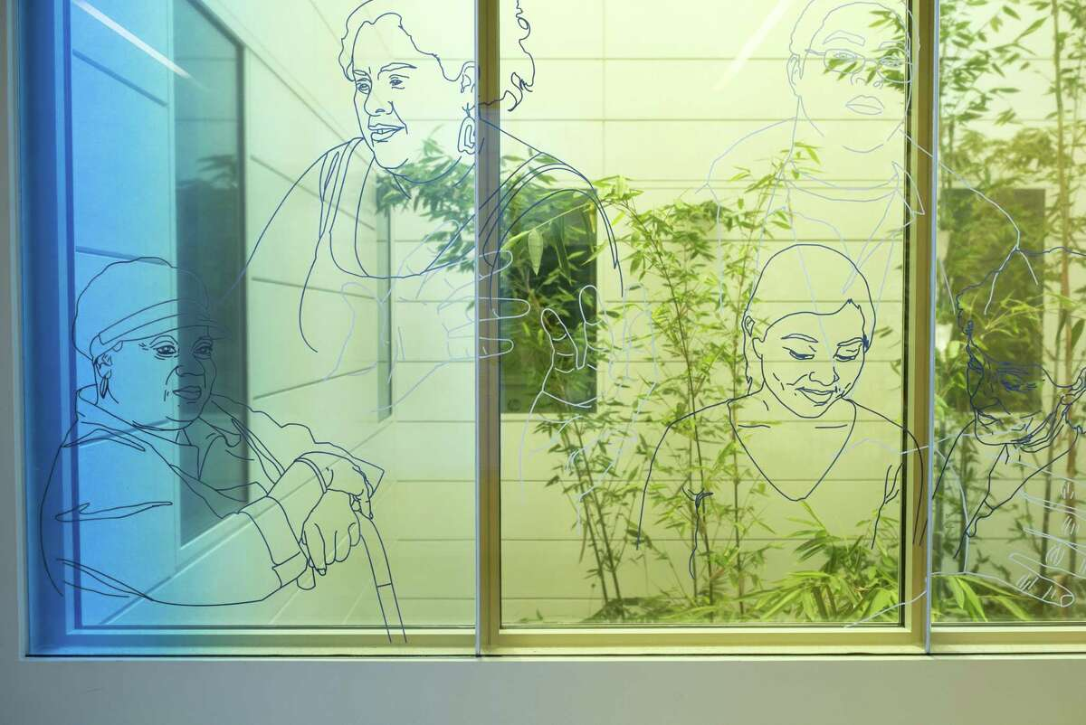 Art by Julio Cesar Morales is displayed at Zuckerberg San Francisco General Hospital and Trauma Center in San Francisco.