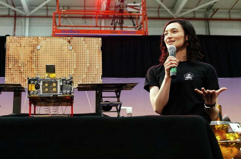 Midland High School graduate and aerospace engineer at NASA Anne Marinan speaks during a media briefing right before the InSight Rover Mars Landing. (Photo provided/Anne Marinan)