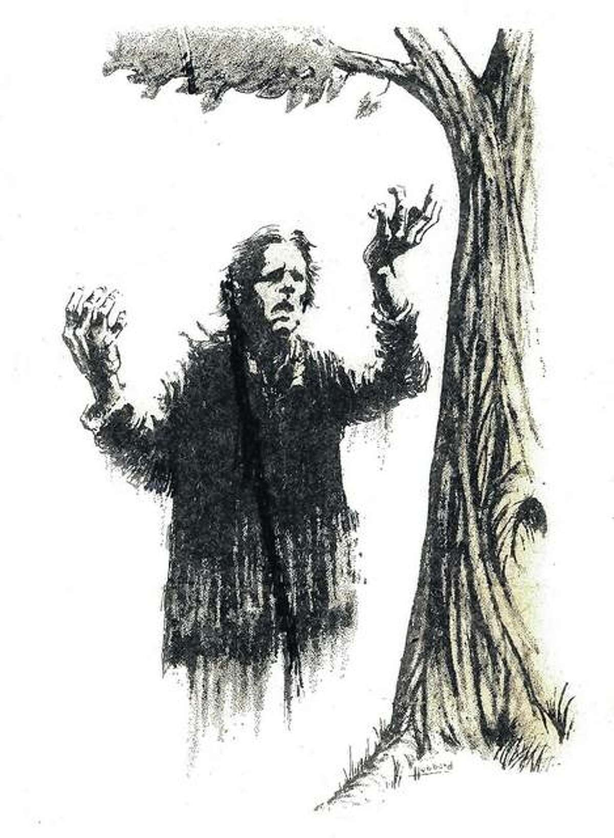 This sketch, made in the 1970s, is an artist's attempt to capture the essence of Old Book, who wailed at every funeral at the former Peoria State Hospital. While grieving, he often would lean on a particular tree - the Graveyard Elm - for support.