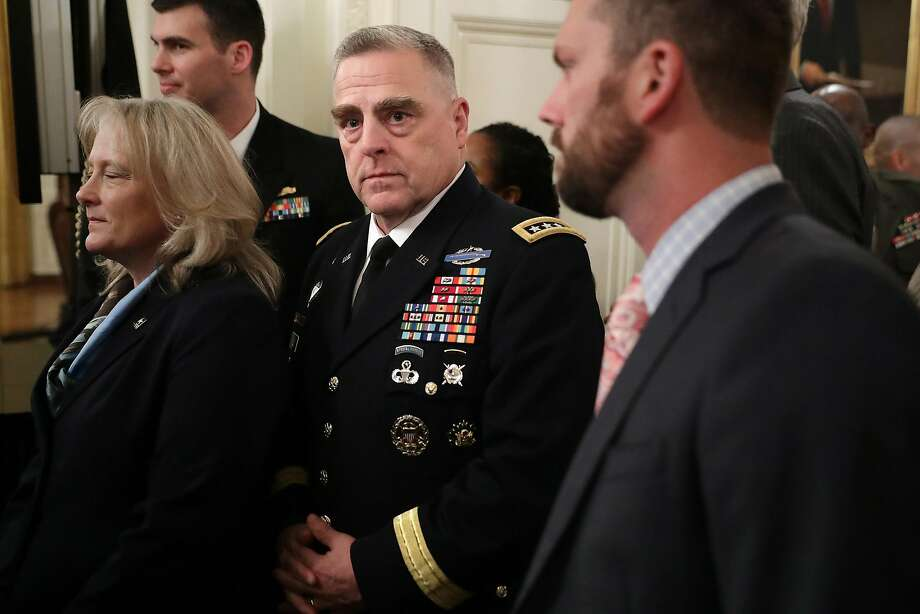Gen. Mark Milley (center), who has been chief of the Army since August 2015, has commanded troops during several tours in Iraq and Afghanistan. Photo: Chip Somodevilla / Tribune News Service