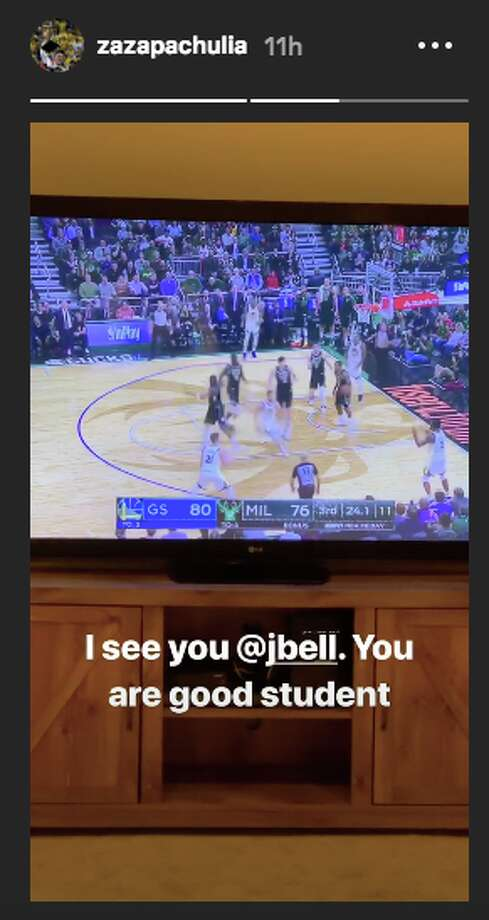 Zaza Pachulia approved of Jordan Bell's between-the-legs pass to Stephen Curry. Photo: Zaza Pachulia/Instagram