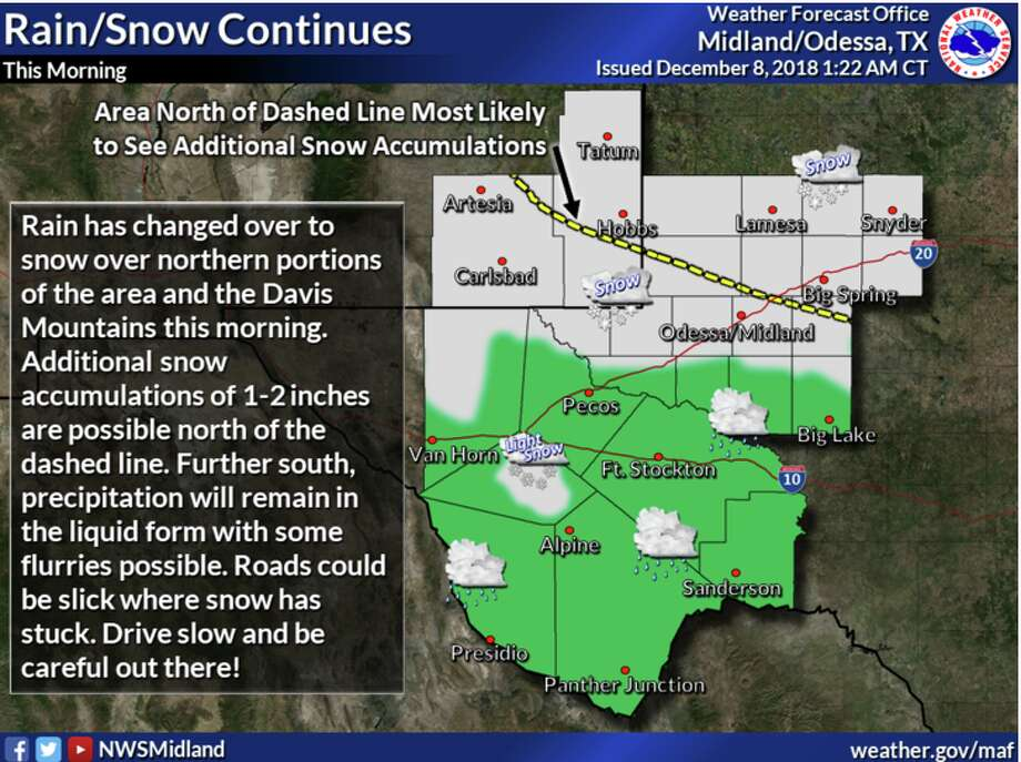 The National Weather Service is showing the possibility of rain and snow in the forecast this for Saturday. Photo: NWS Midland/Odessa