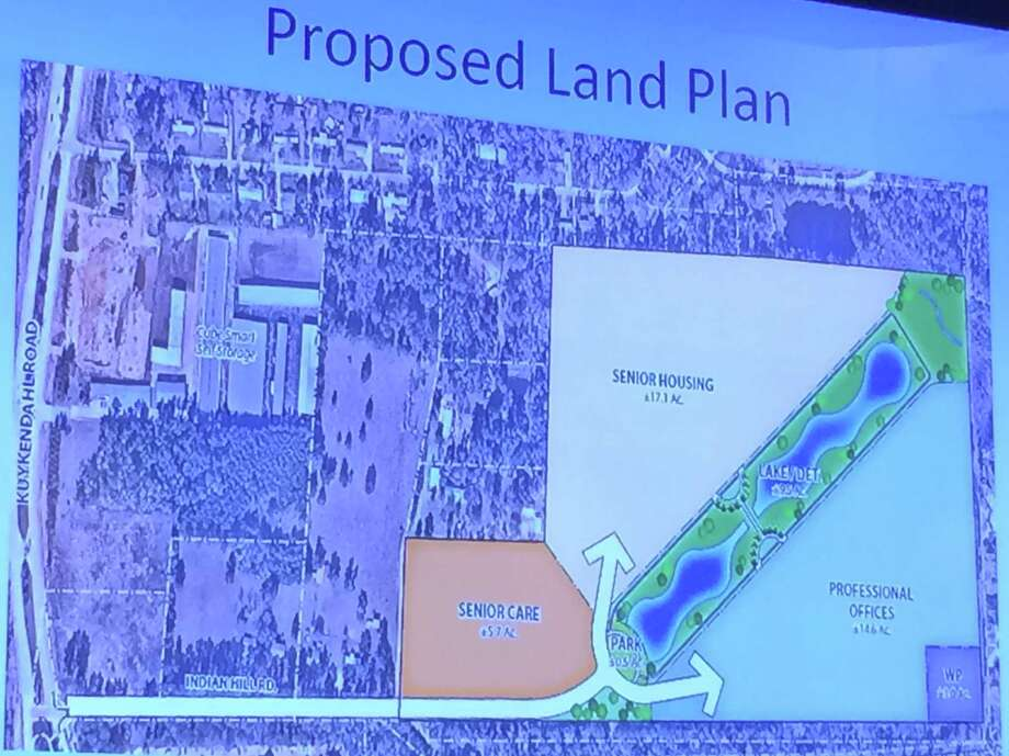 This preliminary site map shows the planned developments of 50 acres of land that will be voluntarily annexed into The Woodlands Township and Harris-Montgomery Counties Municipal Utility District 386. The development will be focused on senior citizens, with a planned active senior apartment complex, an office park as well as a medically-focused senior assisted living center. Photo: Image Courtesy/The Woodlands Township / Image Courtesy/The Woodlands Township