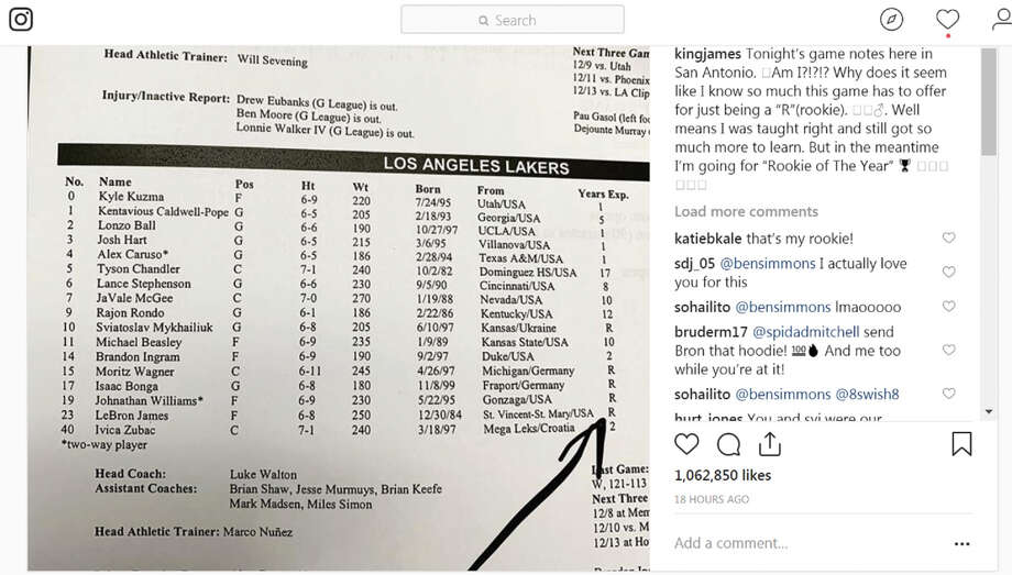 LeBron James pokes fun at media guide misprint before the his loss against the Spurs Friday. Photo: Instagram Screen Grab