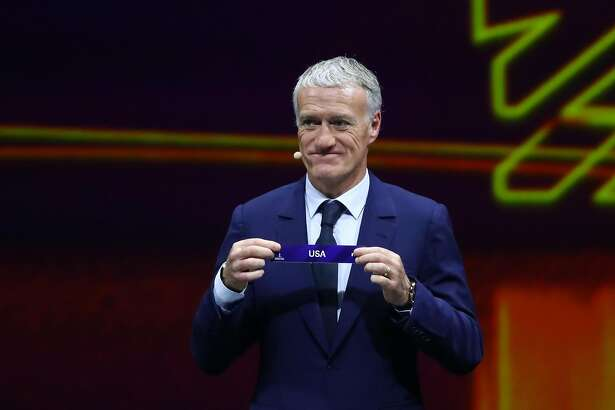 PARIS, FRANCE - DECEMBER 08: Didier Deschamps picks out the United States during the FIFA Women's World Cup France 2019 Draw at La Seine Musicale on December 8, 2018 in Paris, France. (Photo by Dean Mouhtaropoulos/Getty Images)