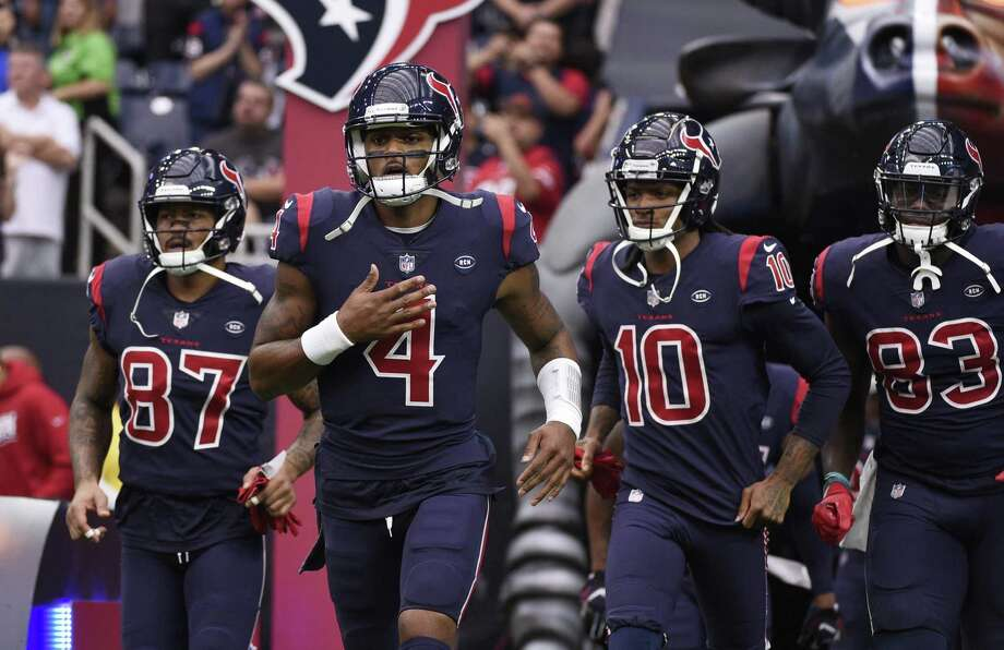 Houston Texans Demaryius Thomas (87), Deshaun Watson (4), DeAndre Hopkins (10) and Jordan Thomas (83) before an NFL football game against the Cleveland Browns, Sunday, Dec. 2, 2018, in Houston. (AP Photo/Eric Christian Smith) Photo: Eric Christian Smith, FRE / Associated Press / Copyright 2018 The Associated Press. All rights reserved.