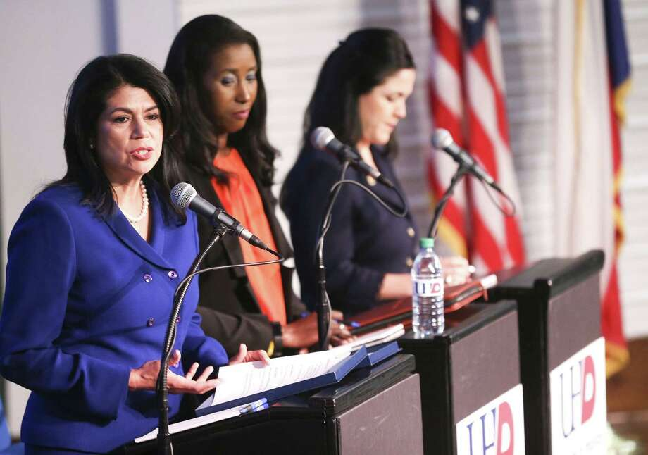 State Rep. Carol Alvarado answers question in a debate for the special election for Texas Senate Dist. 6 against Mia Mundy and State Rep. Ana Hernandez at University of Houston Downtown on Tuesday, Dec. 4, 2018 in Houston. Photo: Elizabeth Conley, Houston Chronicle / Staff Photographer / © 2018 Houston Chronicle
