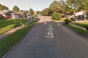 A 7-year-old boy was in critical condition after someone in an armed group fired into a car driven by a teen about 2 p.m. Saturday along Little Bighorn in Katy, authorities said.