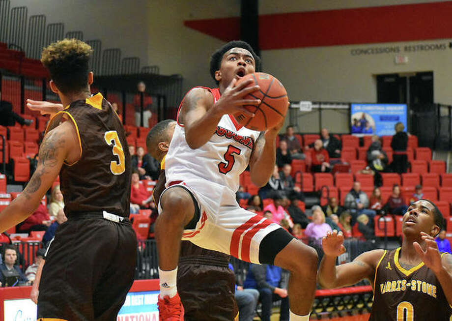 SIUE guard Tyresse Williford goes up for an acrobatic layup during the first half Saturday against Harris-Stowe inside the Vadalabene Center.