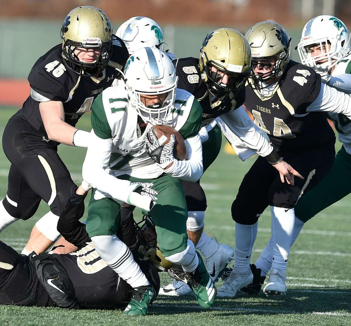 New Britain, Connecticut - Saturday, December 8, 2018: Daniel Hand H.S. vs. Maloney H.S. during first half football of the CIAC Class L Championship Game Saturday afternoon at Willowbrook Park Stadium in New Britain.