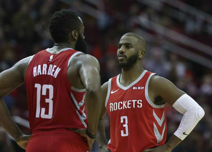 James Harden, left, Chris Paul and the rest of the Rockets haven't looked like last year's team so far.