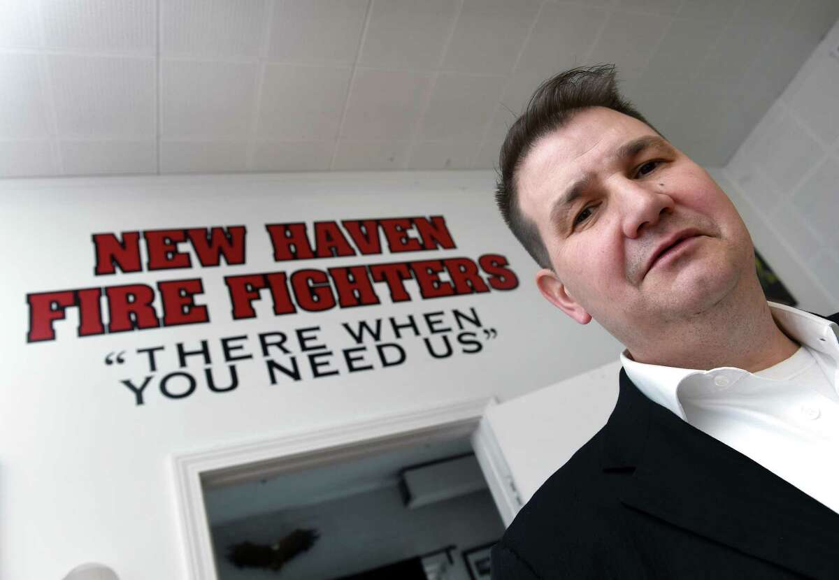 Frank Ricci, re-elected as president of the New Haven Fire Union Local 825, at the union office in New Haven recently.