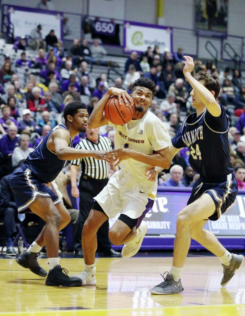 UAlbany forward Malachi De Sousa dribbles the ball during a game against Monmouth Saturday Dec. 8, 2018 at the SEFCU Arena. (Phoebe Sheehan/Special to The Times Union)