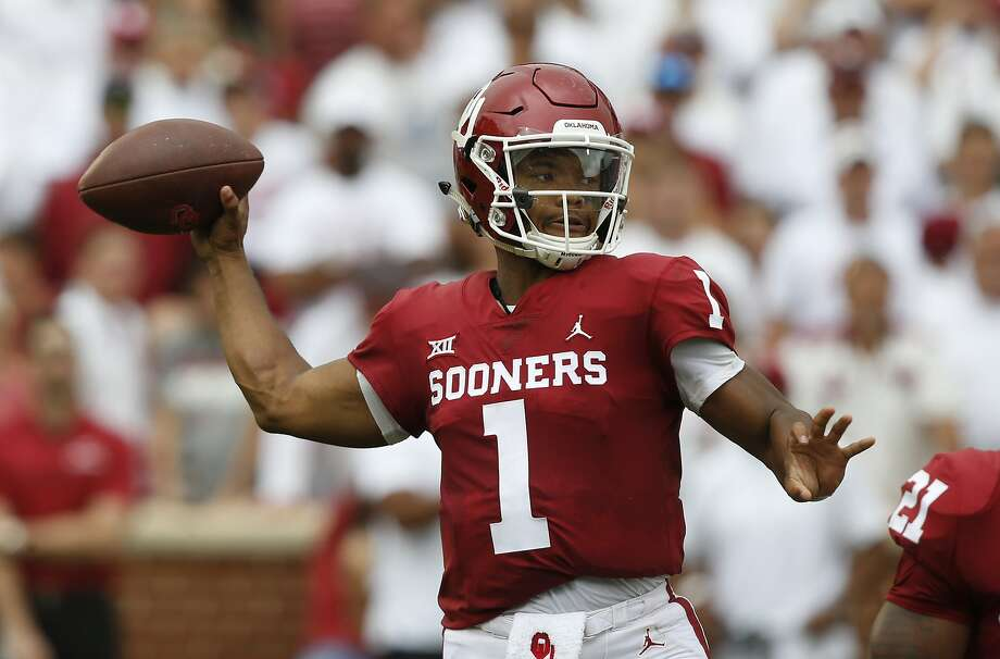FILE - In this Saturday, Sept. 8, 2018, file photo, Oklahoma quarterback Kyler Murray (1) throws during an NCAA college football game against UCLA, in Norman, Okla. Murray was named a Heisman Trophy finalist on Monday, Dec. 3, 2018. (AP Photo/Sue Ogrocki, File) Photo: Sue Ogrocki, Associated Press