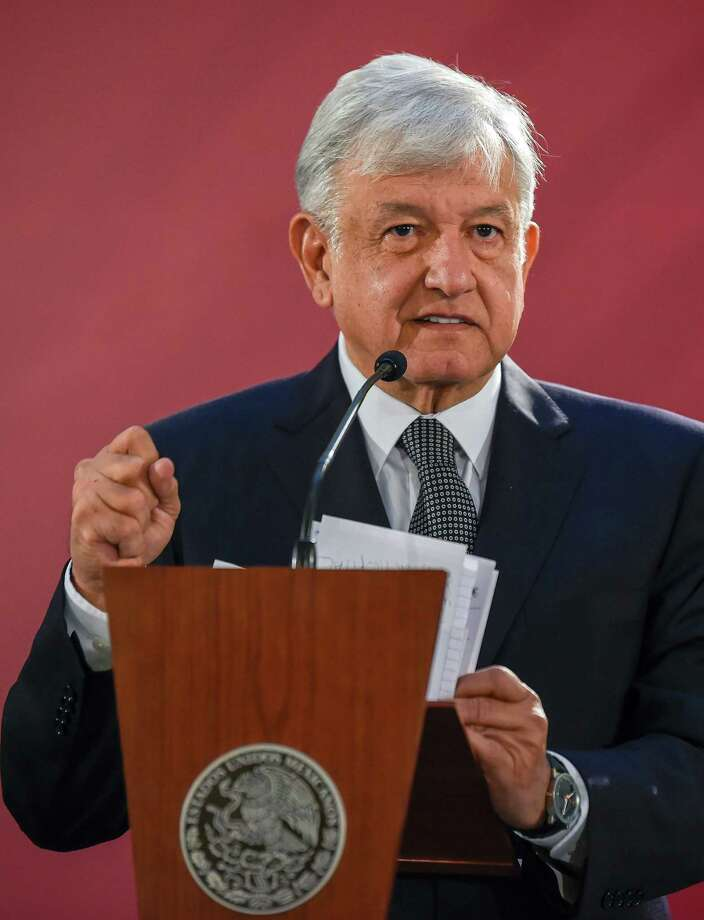 "Mexico's President Andres Manuel Lopez Obrador gives his first press conference as president, at the National Palace in Mexico City on December 3, 2018. - Anti-establishment leftist Andres Manuel Lopez Obrador vowed a ""deep and radical"" change in Mexico as he assumed the country's presidency on December 1. (Photo by Alfredo ESTRELLA / AFP)ALFREDO ESTRELLA/AFP/Getty Images Photo: ALFREDO ESTRELLA, Contributor / AFP/Getty Images / AFP or licensors"