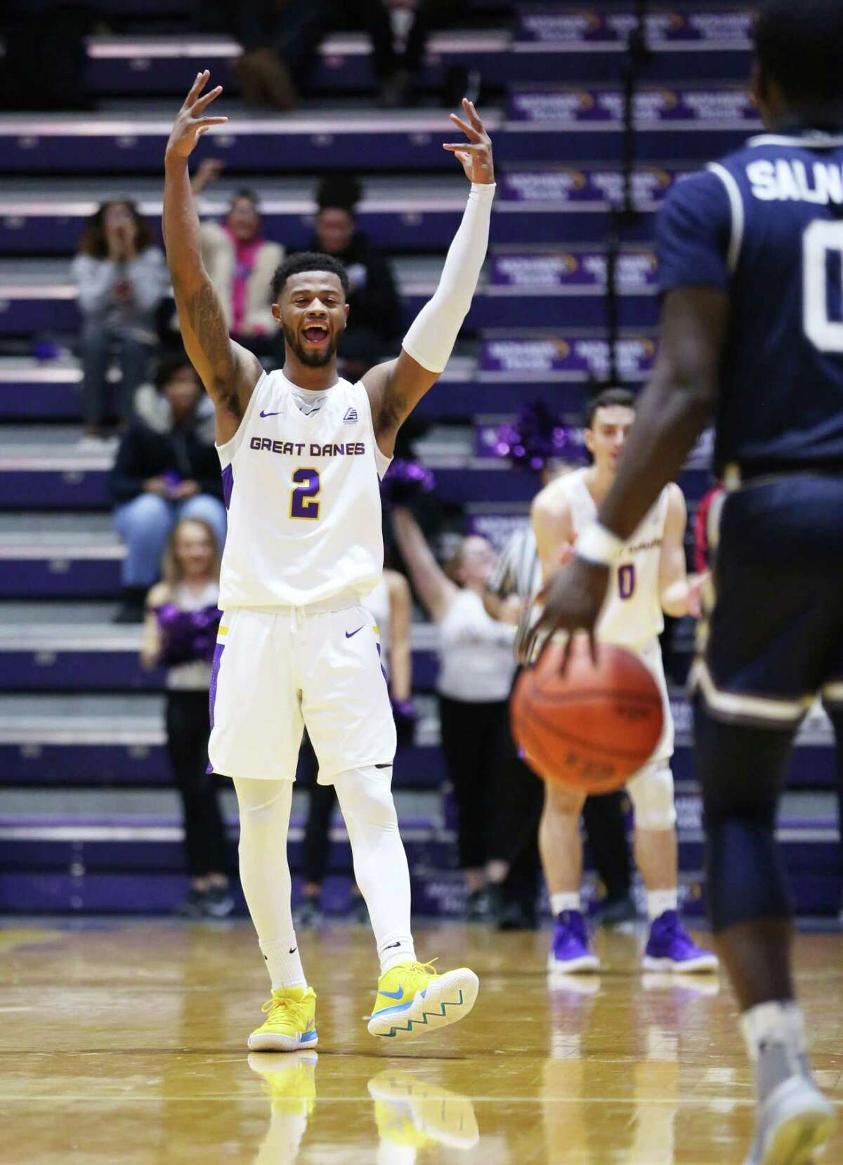 UAlbany guard Ahmad Clark celebrates a play during a game against Monmouth Saturday Dec. 8, 2018 at the SEFCU Arena. (Phoebe Sheehan/Special to The Times Union)