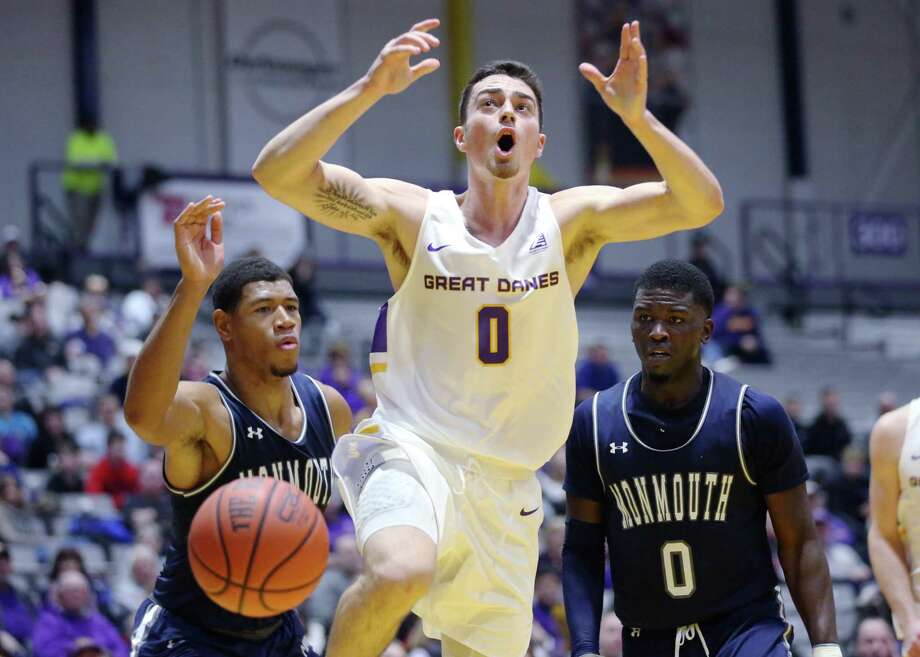UAlbany guard Antonio Rizzuto reacts to a play during a game against Monmouth Saturday Dec. 8, 2018 at the SEFCU Arena. (Phoebe Sheehan/Special to The Times Union) Photo: Phoebe Sheehan