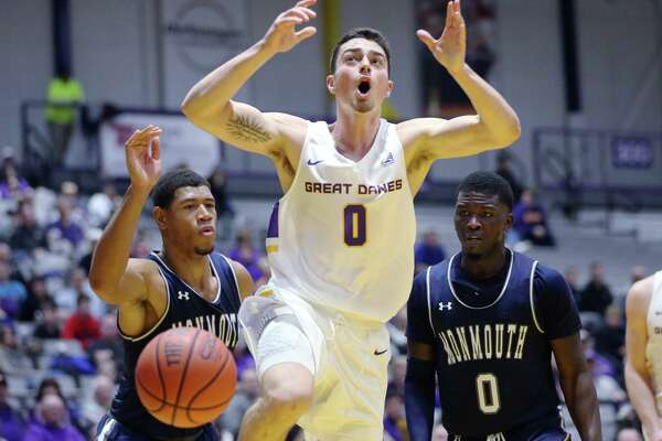 UAlbany guard Antonio Rizzuto reacts to a play during a game against Monmouth Saturday Dec. 8, 2018 at the SEFCU Arena. (Phoebe Sheehan/Special to The Times Union)