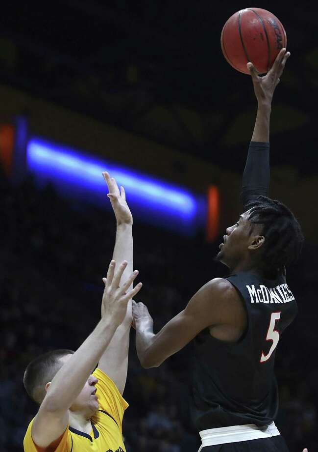 San Diego's Jalen McDaniels (5) shoots over California's Grant Anticevich in the first half of an NCAA college basketball game, Saturday, Dec. 8, 2018, in Berkeley, Calif. (AP Photo/Ben Margot) Photo: Ben Margot / AP / Copyright 2018 The Associated Press. All rights reserved.