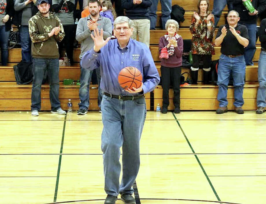 Longtime WSMI Radio broadcaster Terry Todt, shown at a game last month, was honored Saturday at the first T. Todt Shootout Against Cancer at Carlinville High School. Todt, who is battling cancer, was at the eight-game event broadcast games, met well-wishers and addressed the crowd. Photo: Courtesy Lincolnwood Lancers