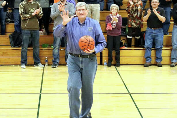 Longtime WSMI Radio broadcaster Terry Todt, shown at a game last month, was honored Saturday at the first T. Todt Shootout Against Cancer at Carlinville High School. Todt, who is battling cancer, was at the eight-game event broadcast games, met well-wishers and addressed the crowd.