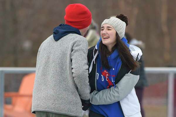 Stamford's Thomas Connolly and Jenna Migliaccio, both 16, skate together at the Steven & Alexandra Cohen Skating Center at Mill River Park in Stamford, Conn. Sunday, Dec. 9, 2018. The new 9,000 sq. ft. skating area opened Thursday and will be open seven days a week seasonally through March 15.