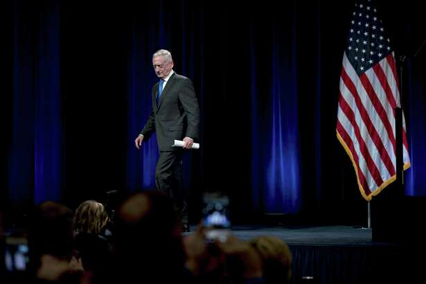 Jim Mattis, secretary of defense, walks off stage after introducing Vice President Mike Pence during an event at the Pentagon in August 2018.