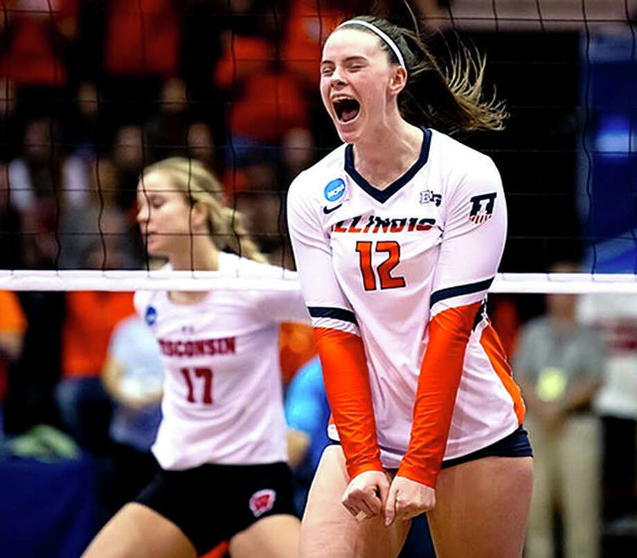 Ashlyn Fleming of Illinois celebrates during her team's victory over Wisconsin in their NCAA volleyball quarterfinal matchup Saturday at Huff Hall. Photo: Craig Pressman, Illinois Athletics