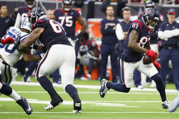 Houston Texans wide receiver Demaryius Thomas (87) breaks free for a 14-yard reception and a first down against the Indianapolis Colts during the third quarter of an NFL football game at NRG Stadium on Sunday, Dec. 9, 2018, in Houston.