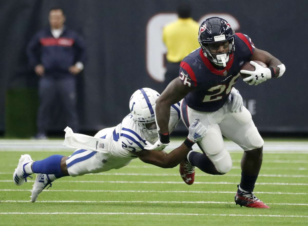 PHOTOS: Contract situations for each Texans player during offseason Houston Texans running back Lamar Miller (26) runs the ball against Indianapolis Colts cornerback Kenny Moore (23) during the second quarter of an NFL football game at NRG Stadium, Sunday, Dec. 9, 2018, in Houston. >>>See contract situations for each Texans player during offseason ...