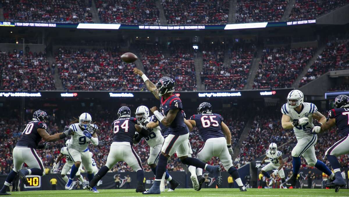 Houston Texans quarterback Deshaun Watson (4) throws the ball against the Indianapolis Colts during the second quarter of an NFL game at NRG Stadium Sunday, Dec. 9, 2018, in Houston. The Colts won 24-21.