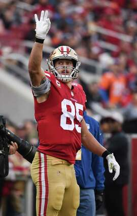 SANTA CLARA, CA - DECEMBER 09: San Francisco 49ers Tight End George Kittle (85) celebrates a first down during the NFL football game between the Denver Broncos and the San Francisco 49ers on December 9, 2018 at Levi's Stadium in Santa Clara, CA. (Photo by Cody Glenn/Icon Sportswire via Getty Images)